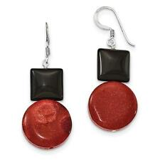 925 Sterling Silver Black Agate & Reconstituted Red Coral Earrings 18mm x 38mm