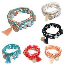 Women Bohemian  Multilayer Acrylic Beads Bracelet Rhinestone Tassels Bangles