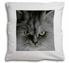 Grey Persian Cat Soft Velvet Feel Cushion Cover With Inner Pillow, AC-12-CPW