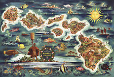 1950 Pictorial Dole Map Hawaiian Islands Vintage Wall Art Poster Print Decor