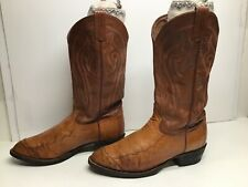 Vtg Mens Tony Lama Cowboy Smooth Ostrich Skin Brown Boots Size 9 D