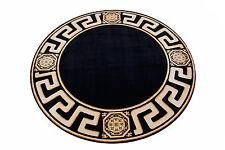 Teppich Rund Kunst Seide Mäander Medusa Möbel schwarz Carpet. 200 cm ∅ versac