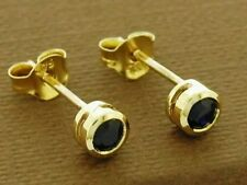 E072- Genuine 9ct Gold NATURAL Black Sapphire Round Bezel Stud Earrings