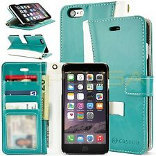Teal / White Apple iPhone 6 Luxury Leather ID Card Wallet Case Cover