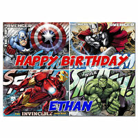 c336; Large Personalised Birthday card; for any name; Avengers Thor Hulk Ironman