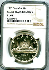 1965 $1 CANADA SILVER DOLLAR NGC PL65 SMALL BEADS POINTED 5 VOYAGEUR