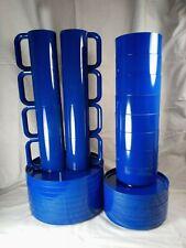 Vintage Heller Massimo Vignelli Italy Blue 32 piece Mcm Plates Bowls Cups 8 Each