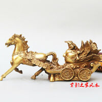 China Fengshui Brass Carve Horse Pull Carriage Money Cabbage Toad Wealth Statue