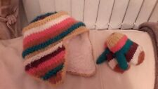 Next Pink, Blue and Yellow Stripe Fleece Knit Child Baby Hat