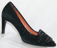 Via Spiga 'Haddie' black suede pointed toe buckle slip on pump heels 6M 6130