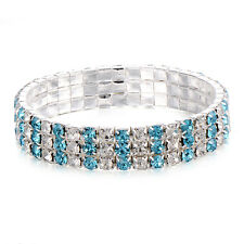 Womens Tennis Bracelet Blue And White Strentchable Width 10mm Silver Plated