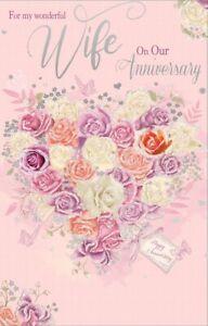 "Wife Wedding Anniversary Card - Pastel Rose Bouquet & Butterflies 10.75"" x 6.75"""