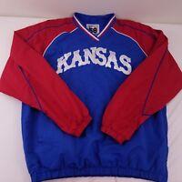 Mens Blue Red Kansas Jayhawks Embroidered Pullover Windbreaker Jacket Size Large