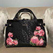 CALVIN KLEIN Logo Peony Floral Rose Handbag Bag H7DDJ6XG PURSE Black Pink New