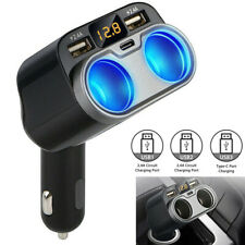 2 Way Car Cigarette Lighter Socket Splitter with Dual USB Charger Power Adapter
