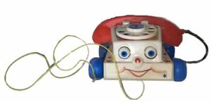 Vintage Fisher Price Chatter Telephone Phone Pull Toy with Moving Eyes 1961 #747