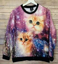 Walnut And 39th Medium Galaxy Cat Sweatshirt Ringer Novelty Funny Kittens