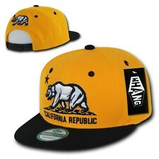 California Republic Bear Gold & Black Flat Bill Snapback Snap Back Cap Hat Hats