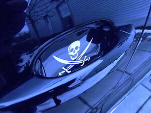 JOLLY ROGER PIRATE SKULL AUTO ACCESSORY CAR DOOR HANDLE SCRATCH GUARDS NEW 2 PK