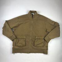 Orvis Mens Zip Up Jacket Brown Pockets Mock Neck Fleece Lined Cotton Blend XL