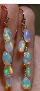 Ethiopian Opal Earring Silver 925 Sterling Dangle Drop Women's Feshion Jewelry
