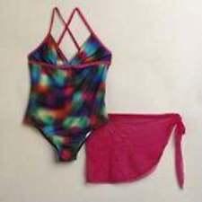 NWT-Girls Plus Joe Boxer 1 Pc Tie Dye Racerback Bathing Swimsuit & Sarong- 14.5