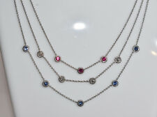 Red, White and Blue - Ruby, Diamond, and Sapphire Necklace in 18K White Gold