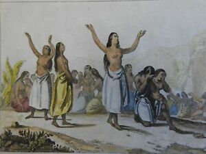 Hawaiian Women 1839 Female Mourners Lamentations scarce French ethnic print
