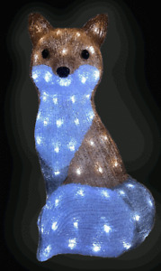 Snowtime Acrylic Fox With 100 Ice White LED Lights