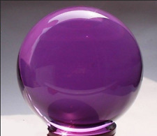 40mm+Stand Asian Rare Natural Quartz Purple Magic Crystal Healing Ball Sphere h8