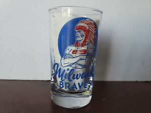 "Vintage 1950's Milwaukee Braves/ County Stadium 41/4"" Glass Tumbler Near Mint"