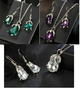 AUSTRIAN  CRYSTAL 2 PIECE SET KP27 NECKLACE EARRING PURPLE CLEAR WHITE OR GREEN