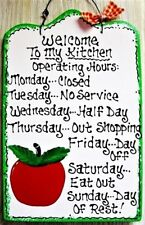 APPLE Kitchen Operating Hours SIGN Fruit Wall Art Hanger Plaque Country Decor