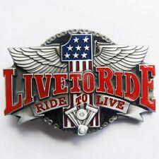Ride to live live to ride Biker Motos Aigle Boucle De Ceinture à Fixer à Propre Ceinture