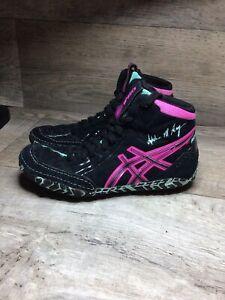 Asics Adeline M. Gray Aggressor J604Y Wrestling Shoes Women's 5.5 Black / Pink