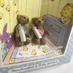 Vintage Baby Gund THE LITTLEST BEARS Mini Plush Twin Baby Bottles Jointed