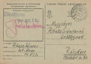 1944 Hungary fieldpost card sent from post No. M850 to Rackeve