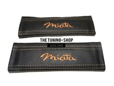 """2x Seat Belt Covers Pads Black Leather """"Miata"""" Tan Embroidery for Mazda"""