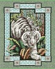 White Tiger Large Quilt Fabric Panel