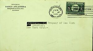 HONDURAS 1940 WWII UPU 8c ON COVER FROM TEGUCIGALPA TO NY USA