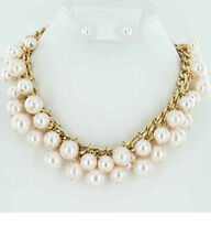 "17"" Adjustable Gold Toned & Light Pink Pearl Necklace With Pearl Stud Earrings"
