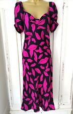 DIANE VON FURSTENBERG SILK Dress Size 8 Black Pink Lips Midi party occasion