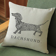Dachshund Throw Cushion Vintage Cotton Linen Pillow & ECO FRIENDLY INSERT
