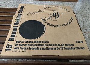 "NEW Pampered Chef 15"" Stoneware Large Round Baking Stone Pizza Family Heritage"