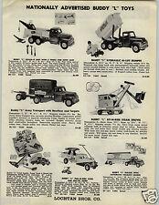 1955 PAPER AD Buddy L Keystone Toy Truck Army Dump Pull N Ride Ride Em Airplane