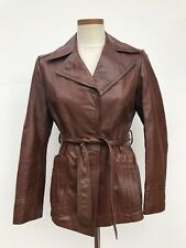 Vintage Split End Womens Leather Tie Waist Jacket Coat Rusty Brown 70's Sz 9/10