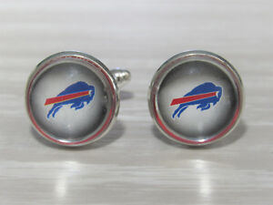 Buffalo Bills Cufflinks made from Football Cards, Handmade, Gift for Men, Dad