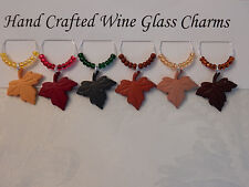 "FALL LEAVES ""  THANKSGIVING SET OF 6 HANDCRAFTED"" Wine Glass Charm drink markers"