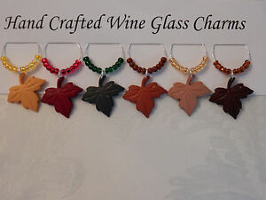 """FALL LEAVES """"  THANKSGIVING SET OF 6 HANDCRAFTED"""" Wine Glass Charm drink markers"""