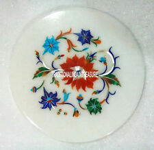 "7"" White Marble Round Plates Rare Stones Collectible Inlay Kitchen Gifts Decor"